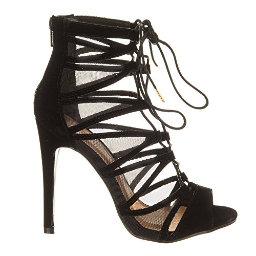 Suedette Black Peep toe Shoes Miss Diva Femme zwgCxn6anq