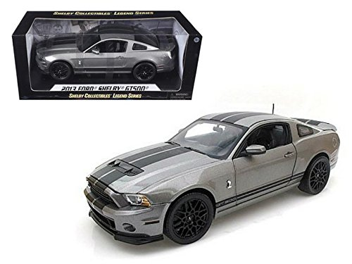 Shelby Collectibles 2013 Ford Shelby GT500, Gray with Stripes, Inc. SC395-1 - 1/18 Scale Diecast Model Toy Car - Shelby Collectible Vehicle