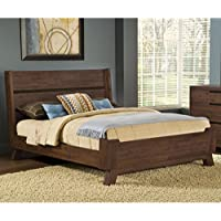 Domusindo Assymetrical Full-size Solid Wood Platform Bed Queen