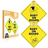 Danolt Baby on Board Sign for Car, 2pcs Upgrade Thicken Kids Safety Warning Sucker Sticker for Driver, No Fade, Removable