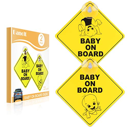 Baby on Board Sign for Car, Danolt 2pcs New Upgrade Thicken Kids Safety Warning Sucker Sticker for Driver, No Fade, Removable
