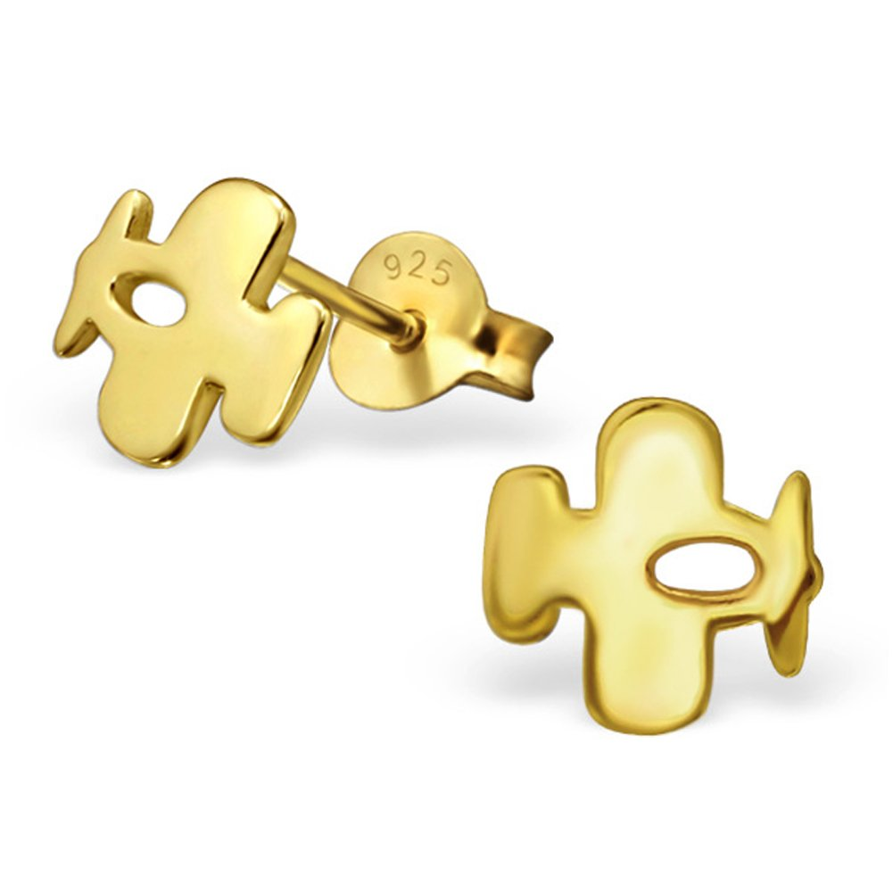 Cute Airplane Earrings Rose Gold Plated/ Gold Plated Sterling Silver 925 Posts Studs (Gold Plated)