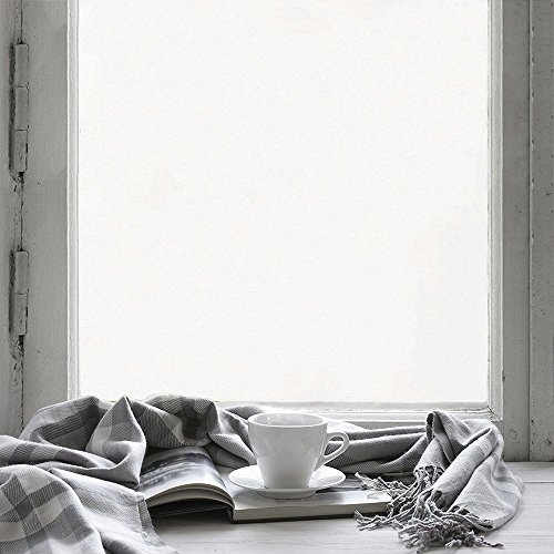 Privacy Window Film in Frosted Translucent, No Glue/UV Rejection/Heat Control/Energy Saving/Easy Removal Decorative Glass Stickers Suitable for All Kinds of Smooth Glass Surface, 17.7 by 78.7 Inch