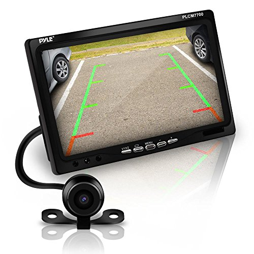 Pyle Backup Rear View Car Camera Screen Monitor System – Parking & Reverse Safety Distance Scale Lines, Waterproof, Night Vision, 170° View Angle, 7″ LCD Video Color Display for Vehicles – (PLCM7700)