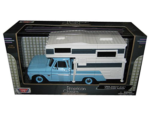 1966 Chevrolet C-10 Pickup Truck Light Blue With Camper 1/24 by Motormax 75355