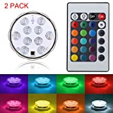 Submersible LED Lights Remote Controlled Waterproof LED Lights, FLYEEGO Battery Powered RGB Multi Color Changing Waterproof Light for Event Party and Home Decoration (2 Pack)