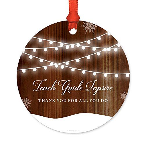 Andaz Press Custom Year Teacher Christmas Ornament, Teach Guide Inpsire Thank You for All You Do Christmas 2019, Rustic Wood Snow Shining Ball Lights, 1-Pack, Includes Ribbon and Gift Bag
