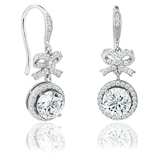 Prime Amazon Day - Robert Matthew Taylor 18k White Gold Drop Earrings, Dangling Round Cut CZ Halo Bow Earring Set for Women, Silver Cubic ZIrconia Halo Earrings with Bow, Anniversary Jewelry MSRP 94