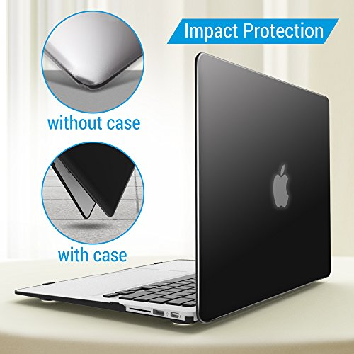 iBenzer Basic Soft-Touch Series Plastic Hard Case & Keyboard Cover Apple MacBook Air 13-inch 13'' A1369/1466 (Black) by iBenzer (Image #4)