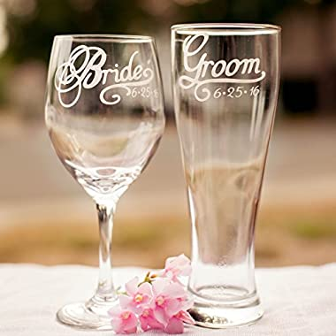 Bride Wine Glass and Groom Beer Glass with Wedding Date, Hand Engraved, Gift for Bride, Gift for Groom, Set of 2 - More Glass Types Available: Choose from Wine, Pilsner, Pint or Whisky Glasses