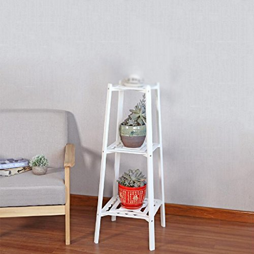 Living Room Balcony Flower Rack Basket Flower Rack Solid Wood Assembly Simple Bonsai Plant Shelves Frame 3 Layer LWH: 333397cm ( Color : White ) by LITINGMEI Flower rack