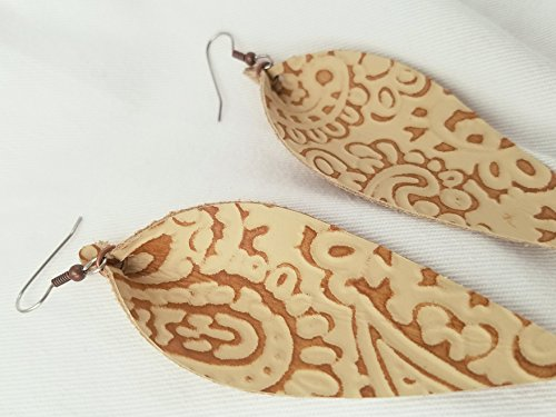 Cream & Brown Paisley Print / Leather Statement Earrings - Large / Joanna Gaines Earrings / Leaf