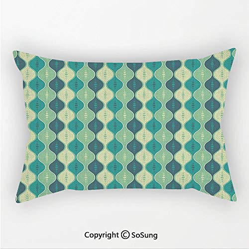 Geometric Linen Car Neck Pillow,Retro Pattern Dotted Design Oval Abstract Shapes Symmetrical,13.7x7.8Inches,for Sofa Bedroom Car & Home Decorate Pale Green Teal Cadet Blue