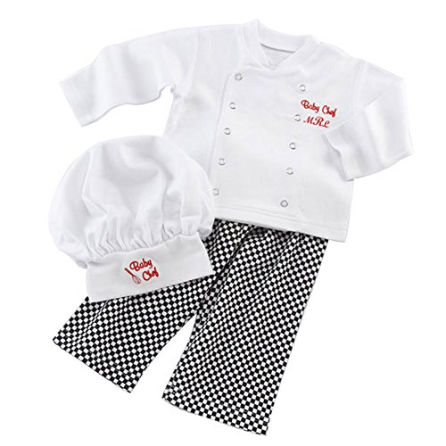 [Rorychen Cute Baby Chef Costume Props Clothes Set Outfits:Shirt+Pants+Cap(0-24M)] (Baby Chef Costumes)