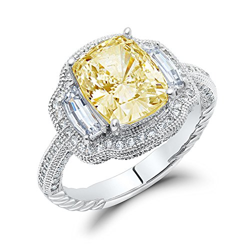DTLA Canary Yellow Cushion Cut Cubic Zirconia Sterling Silver Engagement Ring Canary Engagement Rings
