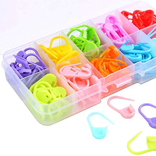Value-5-Star - 140 Pieces Assorted Color Crochet Locking Stitch Markers Knitting Stitch Counter Needle Clip with Storage Case,10 Colors