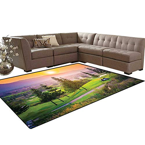 Nature Anti-Skid Area Rugs Golf Resort Park in Spring Season with Trees Sunset Hills and Valley End of The Day Customize Door mats for Home Mat 6'x8' Multicolor