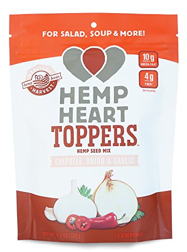 Manitoba Harvest Hemp Hearts Toppers, Chipotle, Onion & Garlic, 4.4oz; with 10g of Protein & Omegas, 4g of Fiber per Serving, Non-GMO