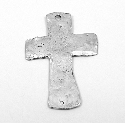 - One (1) Silver Tone Pewter Large Hammered Cross Pendant 5014