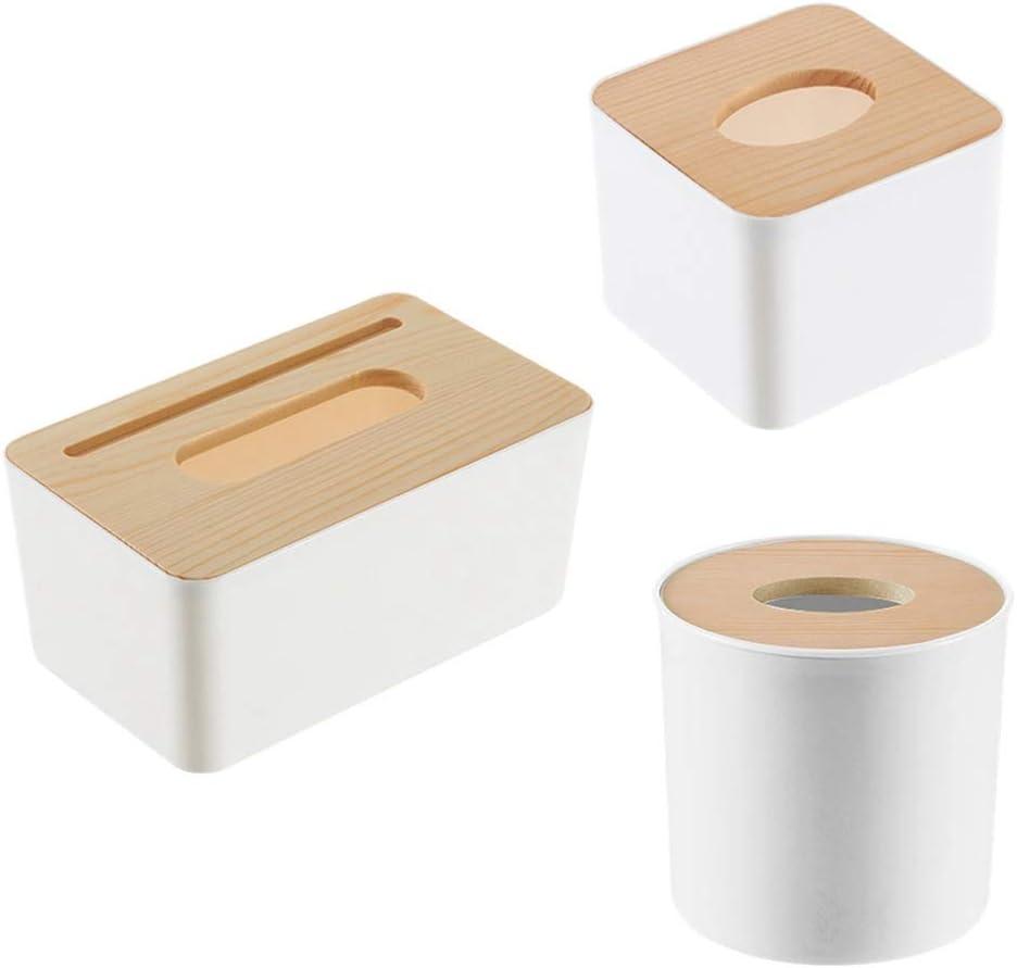 tondo HelloCreate portaoggetti per fazzoletti di carta fodera in legno rimovibile portaoggetti per contenitori in plastica
