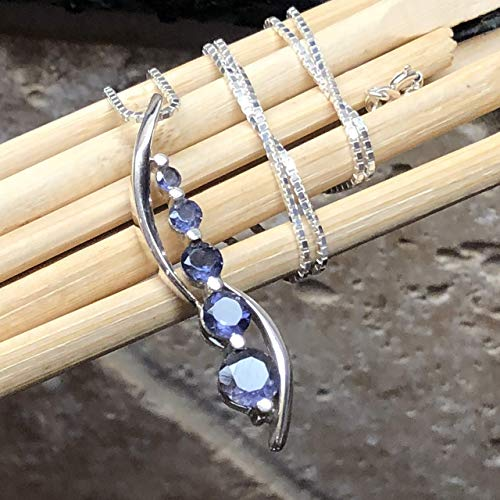 - Natural 2.5ct Iolite Water Sapphire 925 Solid Sterling Silver Journey Pendant Necklace 16
