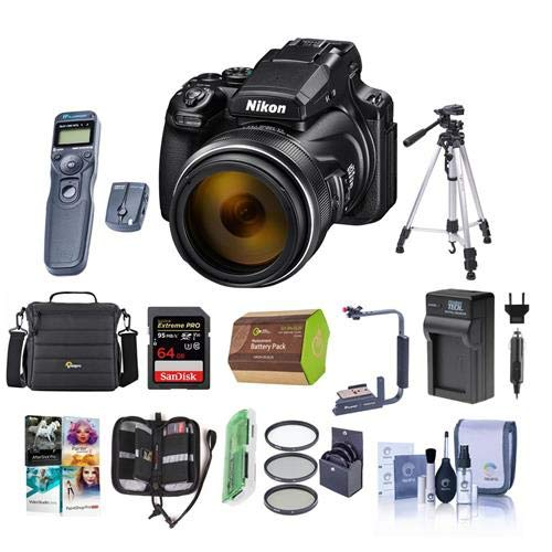 Nikon COOLPIX P1000 Digital Point and Shoot Camera – Bundle with Camera Case, 64GB SDHC U3 Card, 77mm Filter Kit, Spare Battery, Tripod, Remote Shutter Trigger, Cleaning Kit, PC Software Pack and More