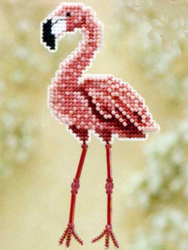- Flamingo Beaded Counted Cross Stitch Ornament Kit Mill Hill 2010 Spring Bouquet MH180105
