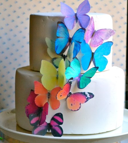 Edible Butterflies © -Large Rainbow Variety Set of 12 - Cake and Cupcake Toppers, Decoration by Sugar Robot Inc. (Image #3)