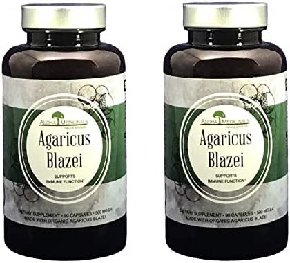 Aloha Medicinals - Pure Agaricus Blazei – Certified Organic Mushroom - Natural Health Supplement – Supports Cardiovascular, Liver, Gut, Joint, Energy Health – Insulin, Cholesterol Control - (2 Pack)