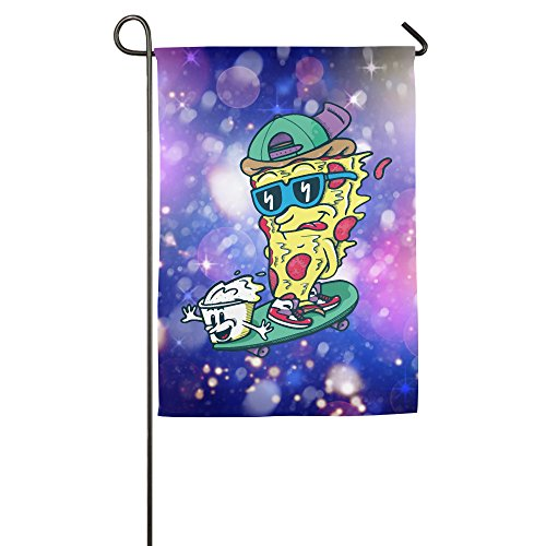 Cartoon Cute Pizza Skateboard Garden Flag Colorful Mulitcolor Bright Cute USA-Produced Garden Flag/Protest Flag/Match Flag