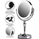 Ovente Battery or Cord Operated LED Lighted Tabletop Makeup Mirror, 1x/10x Magnification, 7.5
