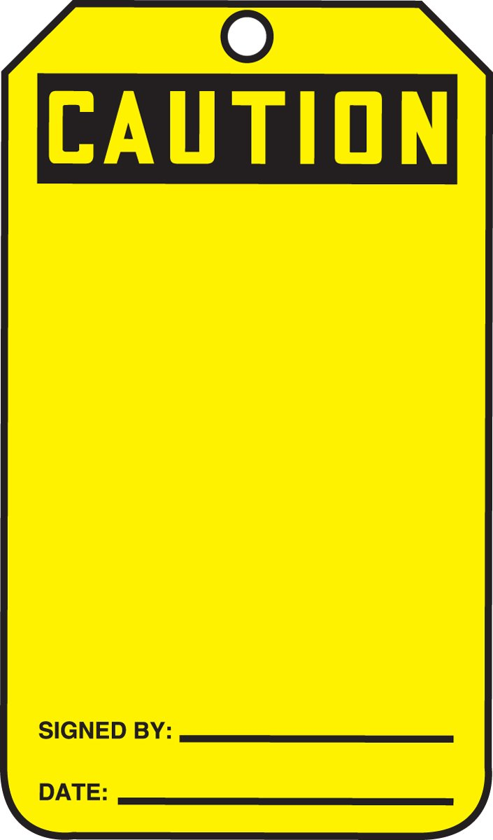 Blank LegendCaution Black on Yellow Pack of 5 Accuform MGT200PTM RP-Plastic Safety Tag 5.75 Length x 3.25 Width x 0.015 Thickness Blank 5.75 Length x 3.25 Width x 0.015 Thickness LegendCaution