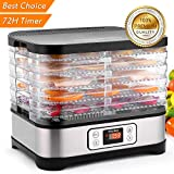 Food Dehydrator Machine, Jerky Dehydrator with Timer, Five Tray, LCD Display Screen/BPA Free/250Watt