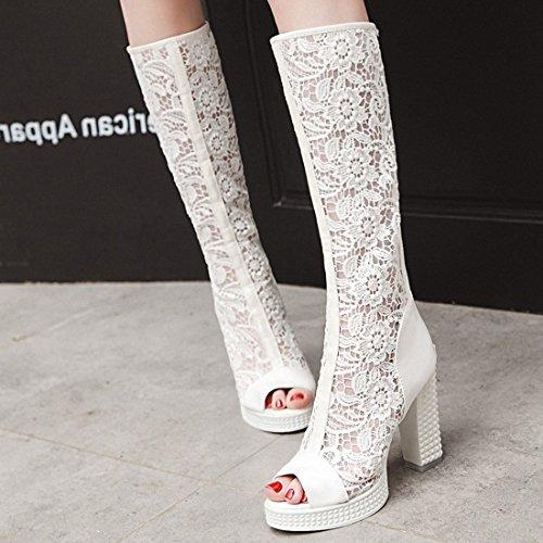 Botas Blanco Verano con de Tacón Mujer Alto Alto Transpirables para y VIMISAOI Tacón pqAd7Uwp