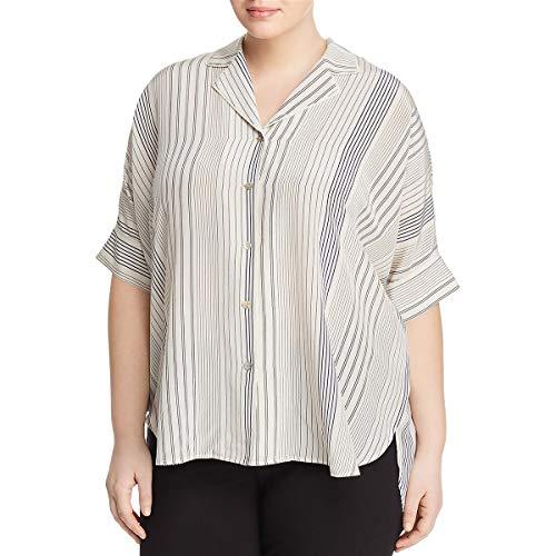 Eileen Fisher Womens Plus Silk Striped Button-Down Top B/W 1X