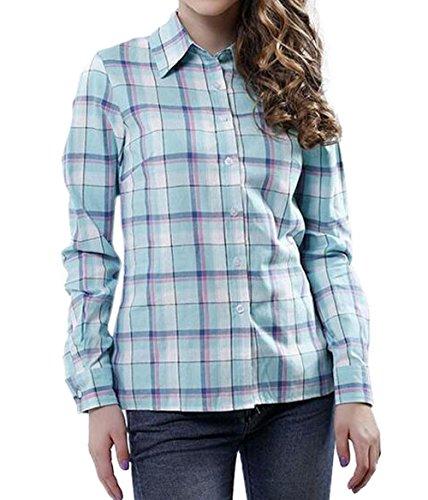 Tops Blouse Tee Manches Chemises JackenLOVE Femmes Shirts Chemisiers Bleu Revers Fashion Casual Printemps Hauts Automne Clair Treillis Longues et xnnO6a