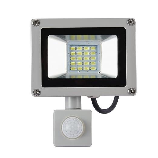 Yuanline Proyector-detector de movimiento LED de 10W,LED ajustables, impermeable IP65, para jardín, patio, terraza, plaza, foco de iluminaci;exterior ...