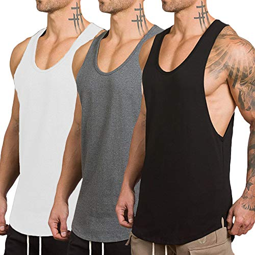 - ZOXO Men's 3 Pack Workout Gym Tank Top Fitness Bodybuilding Stringer Muscle Cut Sleeveless T Shirt Small 3pack