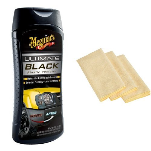 Meguiar's G15812 Ultimate Black Plastic Restorer - 12 oz. with 3 AmazonBasics Thick Microfiber Cleaning Clothsv