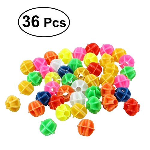 WINOMO 36 PCS Round Bike Bicycle Wheel Spoke Beads Luminous Plastic Clip Spoke Bead Bicycle Beads Wire Beads Decorations