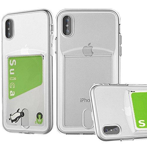 コイン漏斗させるiPhoneXケースクリア,Xmon iPhonexケース tpu,[ icカード収納] [超薄型] [Qi 充電対応] [衝撃吸収] アイフォン X 用 耐衝撃 カバー (カードケース)