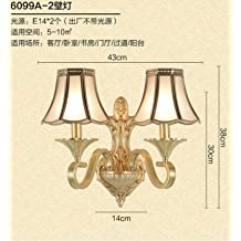 WYMBS European-style living room all copper bedroom bedside lamp base Europe living room TV wall wall lights, sect. B