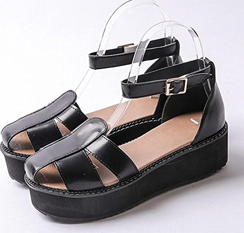 Easemax Womens Ankle Buckle Strap Low Wedge Heel Round Toe Thick Sole Platform Sandals Black luA8wZ26mY