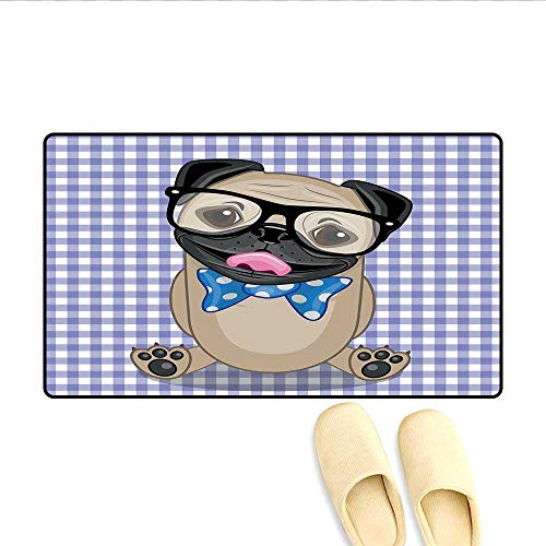 Bath Mat Nerdy Glasses and Dotted Bow Tie on a Puppy Pug with a Checkered Backdrop Door Mat Increase Sand Brown Black Blue 32