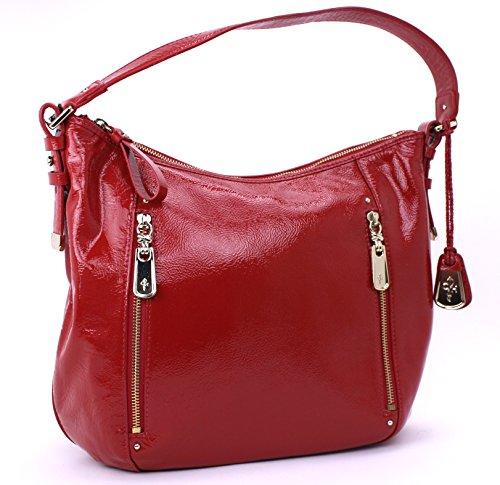 Cole Haan Designer Handbags - Cole Haan Parker Medium Hobo Shoulder Bag Patented Leather (Lantern Red)