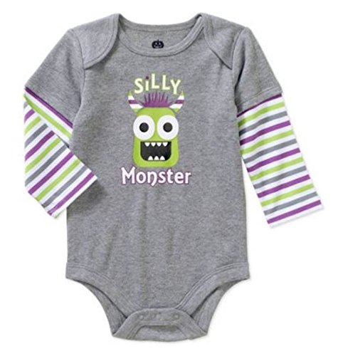 Assorted Witch, Pumpkin, Cat Baby Boys & Girls Halloween Bodysuit Dress Up Outfit (18 Months, Silly Monster - Green Monster)