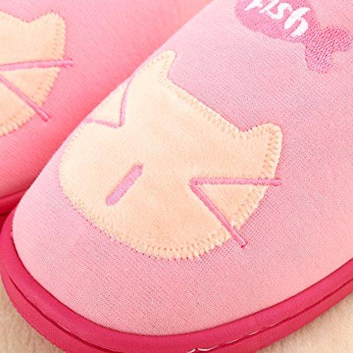 Blubi Mujeres Cat Face Plush Lined Comfort Novedad Zapatillas Cute Zapatillas Pink