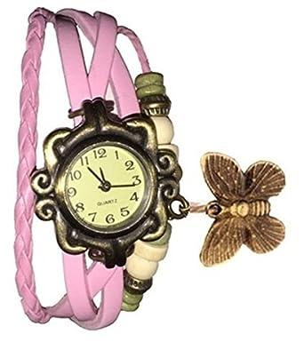 SahiBUY Butterfly Pendant Leather Bracelet Watch (Light Pink)