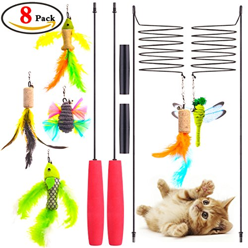 GeMoor 8 Pack Cat Toys Including 2 Pcs Retractable Interactive Cat Toy Wand, 6 Refills Cat Feather Toy, Teaser Wand Toy Set with Feathers Bird Dragonfly Worm Catcher for Cats Kitten Catnip Or Cat