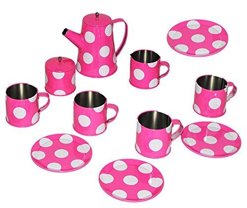 11 tlg. Teeset / Puppengeschirr - Metall & Blech Geschirr - rosa weiße Punkte - Teeservice & Kaffeeservice mit Kanne - Spiel Set - Küche Zubehör Koffer - für Kinder - gepunktet - für Mädchen / Kochgeschirr - Kinderküche